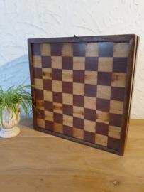 Antiek schaak, dam en backgammon kistje