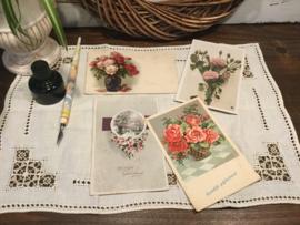 Oude bloemen wenskaarten