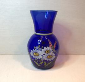 Blauwe handbeschilderde vaas