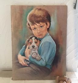 Retro prent jongetje met hond
