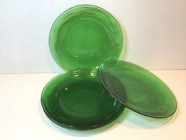 4 groene Arcoroc ontbijtbordjes