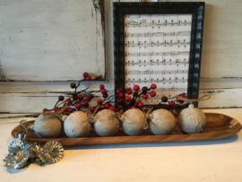 Stoere kerstballen, betonlook, verouderd