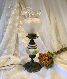 Italiaanse lamp, brons keramiek glas