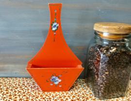 Oranje houten filterhouder