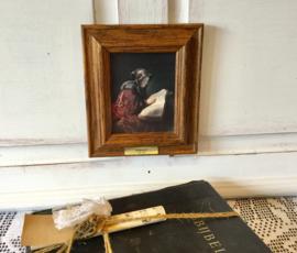 Prent Rembrandt, oude lezende vrouw