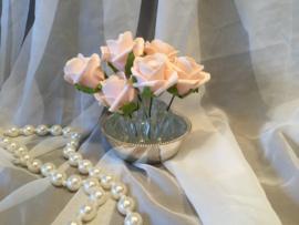 Glazen bloemensteker in verzilverd houdertje