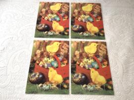 4 vintage paaskaarten