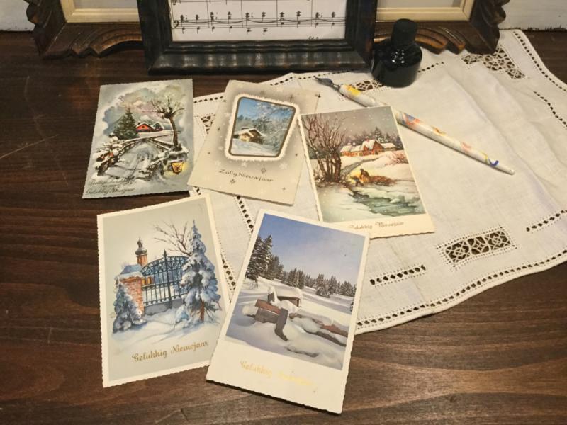 Jaren 50 Kerst en nieuwjaarskaarten
