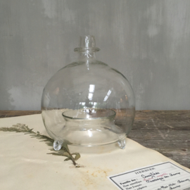 OV20110680 Antieke Franse wespen- of vliegenvanger  van mondgeblazen glas in perfecte staat! Afmeting: 18cm. hoog / +/- 15 cm doorsnede
