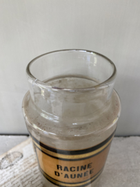 OV20110581 Antieke Franse apothekerspot van mondgeblazen glas vertaling etiket:  - Elzenwortel -  in prachtige staat! Afmeting: 23,5 cm. hoog / 10,5 cm. doorsnede.
