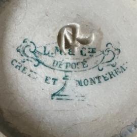 AW20110492  Antieke Franse confiturepot stempel - Creil et Montereau - periode 1884-1920 prachtig beboterd en in perfecte staat! Afmeting: 8 cm. hoog / 10 cm. doorsnede.