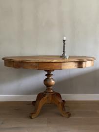 OV20110738 Antieke Franse tafel Napoleon style periode: 1850-1880 met 2 lades in prachtige originele staat! Houtsoort: naaldhout en populier, Afmeting: 71,5 cm. hoog / 117 cm. lang / 72 cm. diep. Alleen ophalen of bezorgen binnen NL.