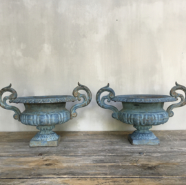 """BU20110088 Set of 2 antique French cast iron garden vases in beautiful blue patina and condition.  Period: early 19th century. Size: 20.5 cm. high (to the brim) / diameter (up to """"ears"""" ) 39.5 cm. Pick up only."""
