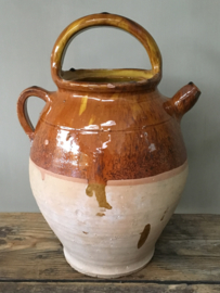 AW20110469 (C) Late 19th century Southern French Gargoulette (water jug) with an ocher-yellow glazed interior, unfortunately the lid is missing in great condition! Size: 35 cm. high (up to handle) / 14 cm. section.