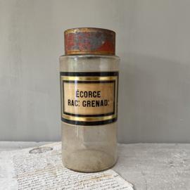 OV20110582 Antieke Franse apothekerspot van mondgeblazen glas vertaling etiket: - bast van de granaatappel - in prachtige staat! Afmeting: 23,5 cm. hoog / 10,5 cm. doorsnede.