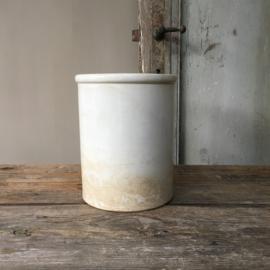 AW20110553(C)Antiek beboterde zalfpot stempel - Déposé Creil et Montereau - periode: 1884-1920 in prachtige staat! Afmeting: 17 cm. hoog / 13 cm. doorsnede