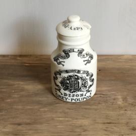 AW20110613 Antiek Frans mosterdpotje Grey Poupon met bijzonder...nog met deksel! Stempel - Digoin & Sarrequemines- periode: 1875-1900. Het dekseltje mist een chip (zie foto 6&7), maar verder in perfecte staat! Afmeting: 9,5 cm. hoog / 6 cm. doorsnede.