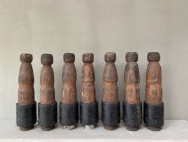OV20110371 Set of 7 Sturdy wooden French cones in beautifully weathered earthy color in good condition! / Size: +/- 44.5 cm. high / +/- 9 cm. cross section.