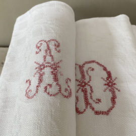 LI20110034 Set van 8 oude Franse linnen servetten met geborduurd monogram - A D - in prachtige staat! Afmeting: 75,5 cm. lang / 63,5 cm. breed