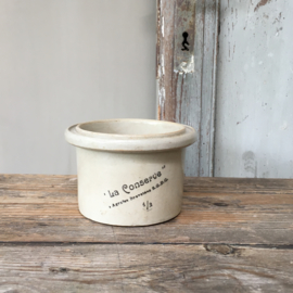 "AW20110505 Old French gres patépot ""La Conserve"" 1/2 in perfect condition! Dimensions: 8 cm. high / 12 cm. section"