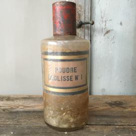 OV20110584 Antieke Franse apothekerspot van mondgeblazen glas vertaling etiket: - zoethoutpoeder - in prachtige staat! Afmeting: 26,5 cm. hoog / 10,5 cm. doorsnede.