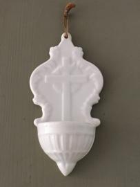 AW20110233 Antiek Frans wijwaterbakje stempel - Porcelaine Opaque de Gien - periode: 1886-1938 in perfecte staat. Afmeting: 15 cm. hoog / +/- 7,5 cm. breed