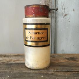 OV20110580 Antieke Franse apothekerspot van mondgeblazen glas vertaling etiket: - Fenegriekzaad - in prachtige staat! Afmeting: 23,5 cm. hoog / 10,5 cm. doorsnede