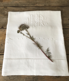 LI20110029 Antique French linen sheet with monogram - MCR - finished with lace edge in beautiful condition! / Size: 240x 300 cm.