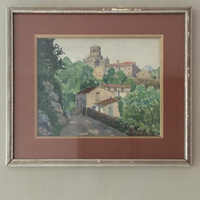 OV20110683 Oude Franse aquarel van pittoresk dorpje in lijst in prachtige staat! Afmeting: 44 cm. breed / 38 cm. hoog.