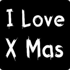 Sluit stickers / etiketten I love Xmas mat zwart
