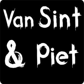 Sluit stickers / etiketten Van Sint & Piet mat zwart