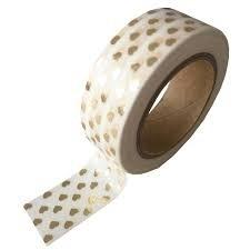Masking tape Hartjes wit/goud foil