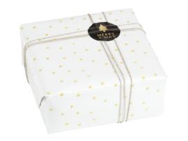 Inpakpapier Wit met gouden sterretjes