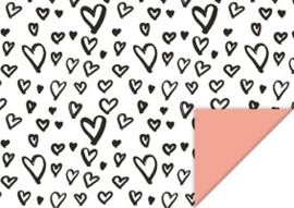 Inpakpapier Wit  doodle hartjes