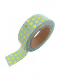 Masking tape stip mint/goud foil