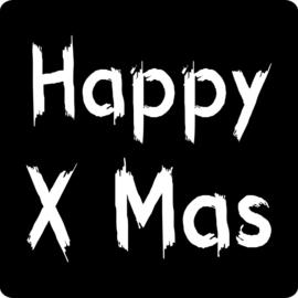 Sluit stickers / etiketten Happy Xmas mat zwart