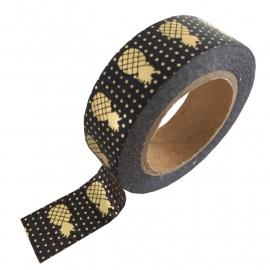 Masking tape Ananas zwart/goud foil