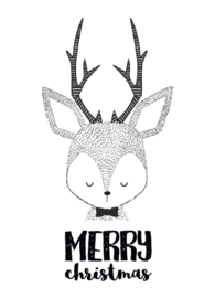 Kerstkaart Merry Christmas cute deer