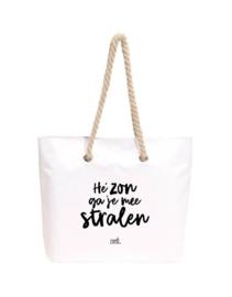 Strand- boodschappentas Hé zon ga je mee stralen