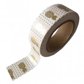Masking tape Ananas wit/goud foil