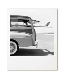 Kaart retro auto surfplank