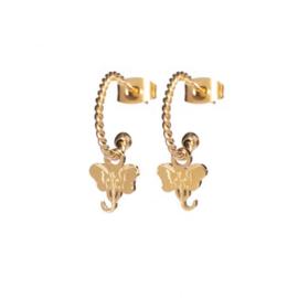 EARRINGS TWISTED ELEPHANT GOLD