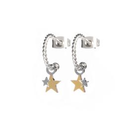 EARRINGS TWISTED STARS STEEL