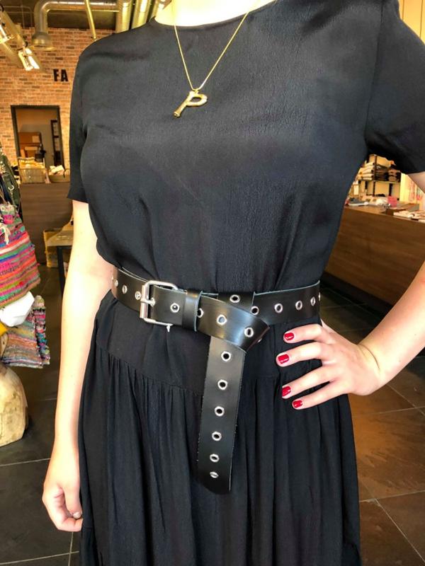 ELVY BAGS black & silver belt 4 cm