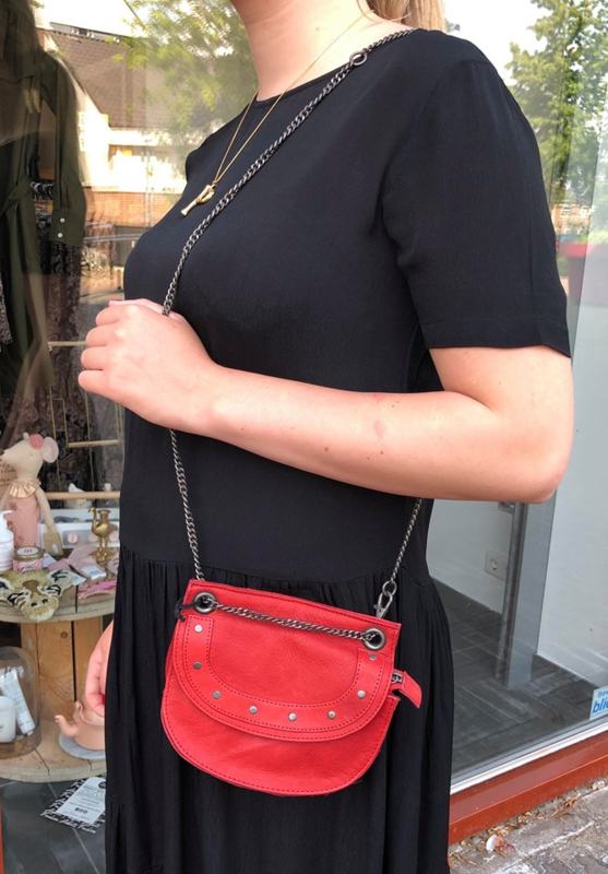 ELVY BAGS Leather Bag Red