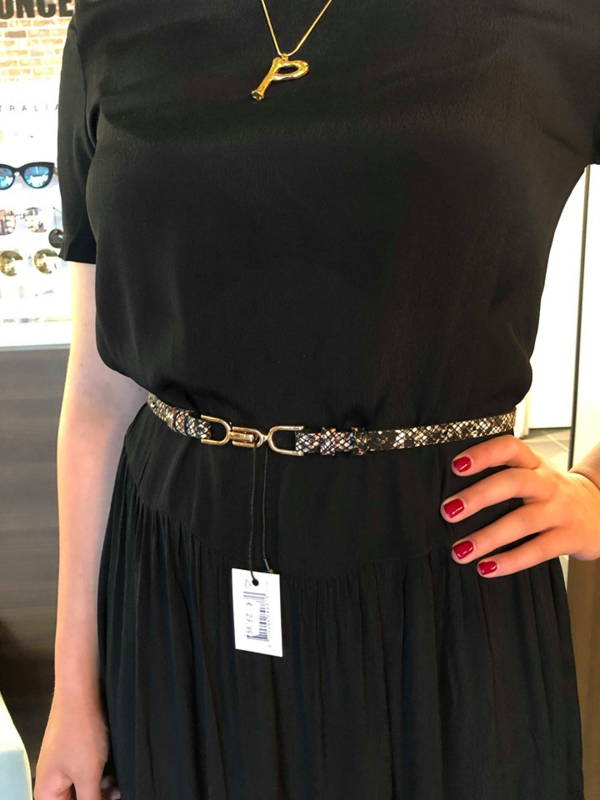 ELVY BAGS leather waist belt snake
