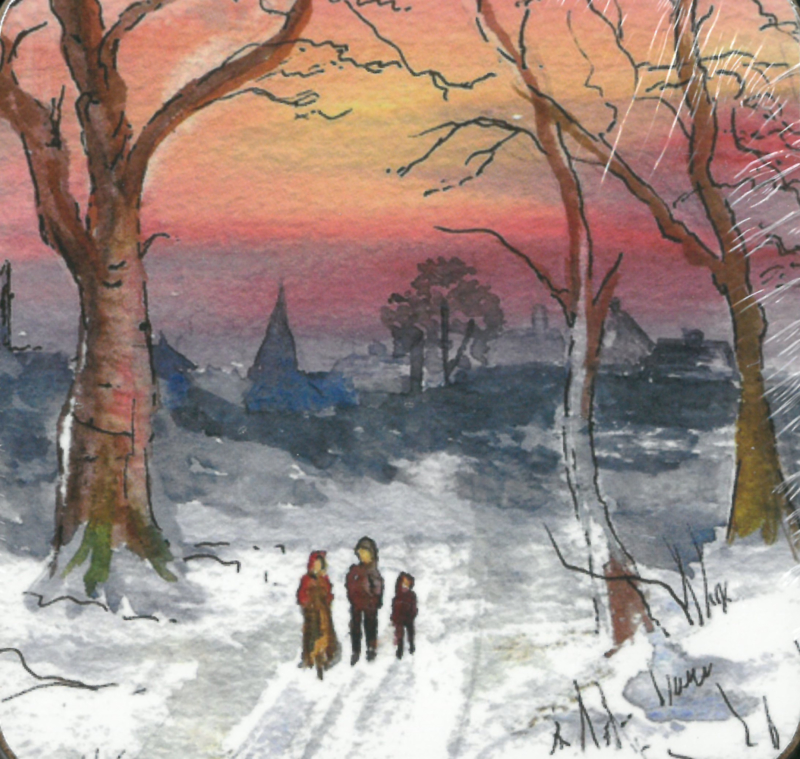 Onderzetters - Pack of 6 coasters - Family walking in the snow ISBN:5060780840444
