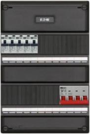 3-fase groepenkast met 5 aardlekautomaten met 15 modules vrij voor extra opties