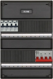 3-fase groepenkast met 4 aardlekautomaten met 16 modules vrij voor extra opties