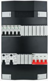 3-fase Schneider groepenkast met 5 installatieautomaten en met 11 modules vrij voor extra opties (volgens nieuwe NEN1010 norm)